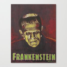 Frankenstein 1931 Boris Karloff In Color With Text Logo Canvas Print