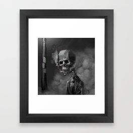 Noir Skeleton Digital Illustration Framed Art Print