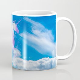Blue sky white dream clouds magical pink unicorn Coffee Mug