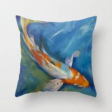 Yamato Nishiki Koi Throw Pillow
