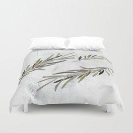 Eucalyptus Leaves White Duvet Cover