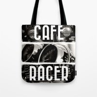 cafe racer Tote Bags featuring Cafe Racer by Rainer Steinke