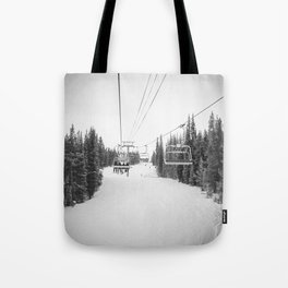 Ski Chair Lift B&W \\ Deep Snow Season Pass Dreams \\ Snowy Winter Mountains Landscape Photography Tote Bag