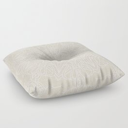 White Lace Mandala on Antique Ivory Linen Background Floor Pillow