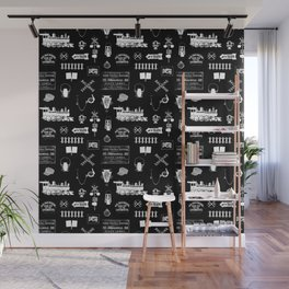 Railroad Symbols on Black Wall Mural