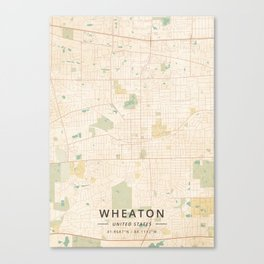 Wheaton, United States - Vintage Map Canvas Print