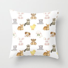 Cute Woodland Farm Baby Animals Nursery Throw Pillow