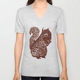 Brown Squirrel Printmaking Art Unisex V-Neck