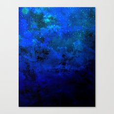 SECOND STAR TO THE RIGHT Rich Indigo Navy Blue Starry Night Sky Galaxy Clouds Fantasy Abstract Art Canvas Print