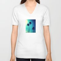 palm trees V-neck T-shirts featuring Palm Trees by Derek Fleener