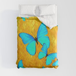 Gorgeous Gold Patterned Turquoise Butterflies Art Duvet Cover