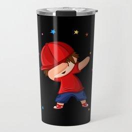 Dabbing Boy With Red Cap Firework Design Motif Travel Mug