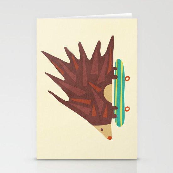 Hedgehog in hair raising speed Stationery Cards