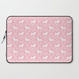 Cairn Terrier silhouette florals pink and white minimal dog breed basic dog pattern Laptop Sleeve