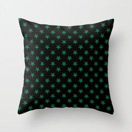 Cadmium Green on Black Stars Throw Pillow