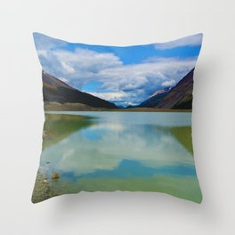 Sunwapta Lake at the Columbia Icefields in Jasper National Park, Canada Throw Pillow