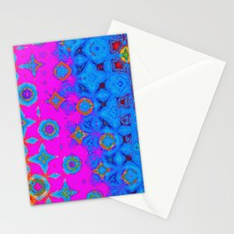 Blue, Violet and Orange Abstract Art Stationery Cards