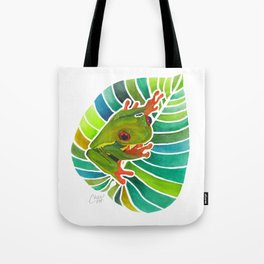 Frog On A Leaf Tote Bag