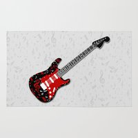 music notes Area & Throw Rugs featuring Music Notes Electric Guitar by GBC Design