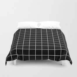 Square Grid Black Duvet Cover