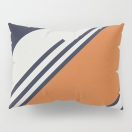 Retro Stripes in Blue Orange Pillow Sham