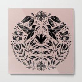 Hummingbird Floral Folk Art - Pink Metal Print