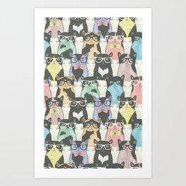 Hipster Cat - Hipster Kitten - Doodle Cat Pattern - Crayon Pattern - Pattern Art Print