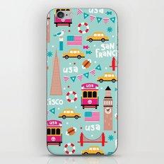 San Francisco travel - Retro style illustration pattern iPhone & iPod Skin