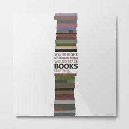 Symmetrical book stacking Metal Print