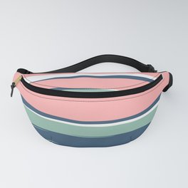 Modern Abstract Stripes Pattern, Blush Pink, Green, Blue Fanny Pack