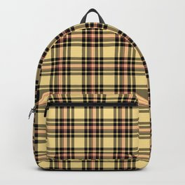 Plaid in Camel Black and Pink Backpack