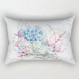 Beautiful Succulents on Marble by Nature Magick Rectangular Pillow