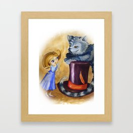 Chesire and Alice Framed Art Print