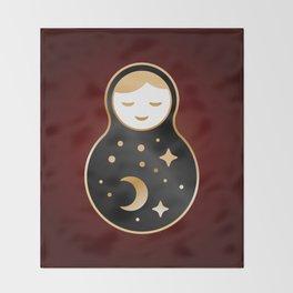 Russian doll matrioshka Babushka smiling Kawaii cute face, Stars, moon, constellation, night sky Throw Blanket