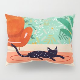 Boho Cat, Illustration Whimsical Graphic Design Pet Illustration Home Decor Eclectic Quirky Animal Pillow Sham