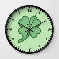kawaii Wall Clocks featuring Kawaii Clover by Nir P