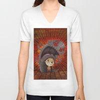 fear V-neck T-shirts featuring Fear by José Luis Guerrero