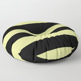 VA Lime Green - Lime Mousse - Bright Cactus Green - Celery Hand Drawn Fat Horizontal Lines on Black Floor Pillow