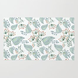 Delicate floral pattern on white. Rug
