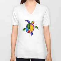 turtle V-neck T-shirts featuring Turtle by Aleksandra Mikolajczak