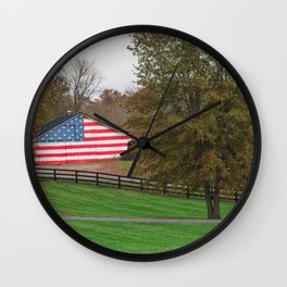 Patriotic Barn in the Country Wall Clock