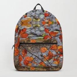 Burnt Orange Leaf Pattern Backpack