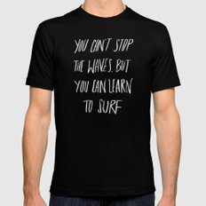 Learn to Surf Black Mens Fitted Tee MEDIUM