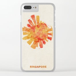 Singapore Colorful Skyround / Skyline Watercolor Painting Clear iPhone Case