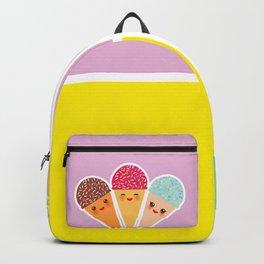 Hello Summer bright tropical card design, ice cream, sun, cat. Kawaii cute face. Backpack