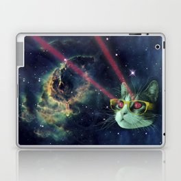 Laser cat with glasses in space Laptop & iPad Skin