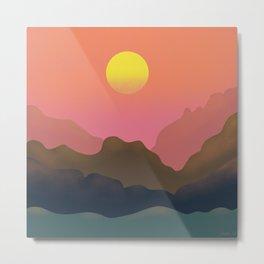 Sunset - the original drawing in minimalism style Metal Print