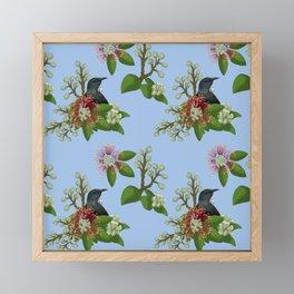 Tui in Pohutukawa Flowers Framed Mini Art Print