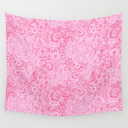 Christmas Pink Lace Doves and Flowers Wall Tapestry