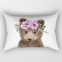 Baby Bear Cub with Flower Crown Rectangular Pillow